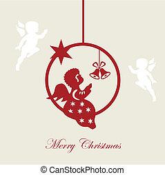 Christmas card, Merry christmas, angel, vector, illustration