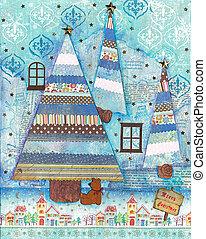 Christmas card mixed media art