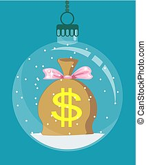 moneybag inside Christmas decoration. - Christmas card....