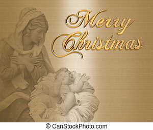 Image and illustration composition Christmas Nativity scene on satin for card or background with Mary the Madonna and Baby Jesus. Monochromatic, 3D text