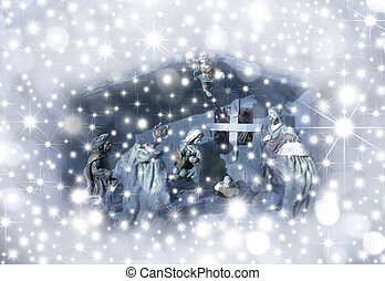 Christmas Card Nativity scene surrounded by stars