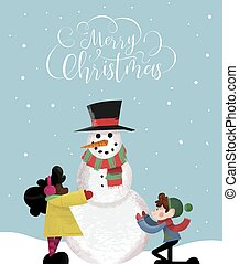 Christmas card of happy children making snowman