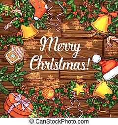 Christmas card of holly wreath on wood background