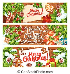 Christmas card of New Year holiday gift, Xmas tree