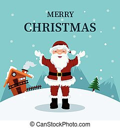 Christmas card of Santa Claus at home in the North Pole