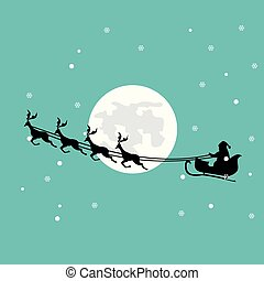 Christmas card of Santa Claus in his sleigh over a beautiful full moon