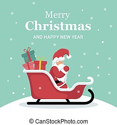 Christmas card of Santa Claus on his sleigh with gifts