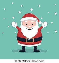 Christmas card of Santa Claus raising hands