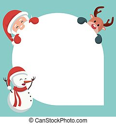 Christmas card of santa claus, reindeer, snowman with white background to write