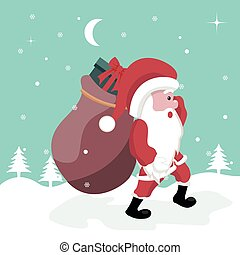 Christmas card of Santa Claus walking in the snow with gifts