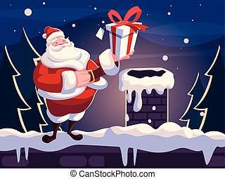 christmas card of santa claus with gift box on the roof