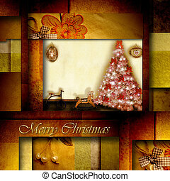 christmas card old toys and fir in the home, in elegant...