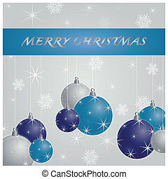 Christmas card on a white background with christmas balls and stars and snowflakes