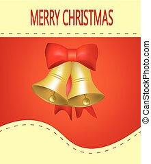 Christmas card on red background with bells