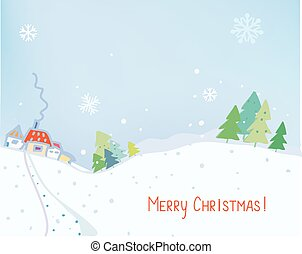Christmas card or banner with countryside landscape