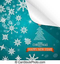 Christmas Card. Paper Cut Snowflakes on Blue Background. Merry Christmas and Happy New Year. Vector.