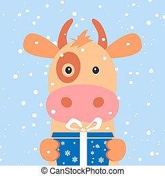 Christmas card. Portrait of cow with gift box, snowflake. Funny cartoon face of a cow. Vector illustration, Happy New Year 2019.