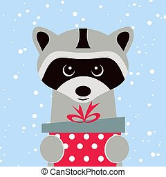 Christmas card. Portrait of raccoon with gift box, snowflake. Funny cartoon face of a raccoon. Vector illustration, Happy New Year 2019.