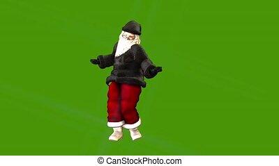Christmas card- posh father Christmas dancing on green...