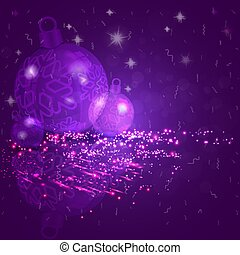 Christmas card purple, blue with a set of Christmas shiny balls with snowflakes.