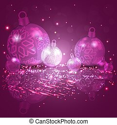 Christmas card purple, pink with a set of Christmas glittery balls with snowflakes.