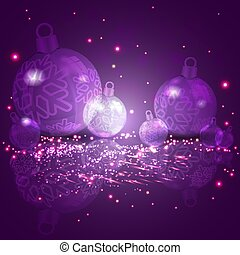 Christmas card purple with a set of Christmas shiny balls with snowflakes.