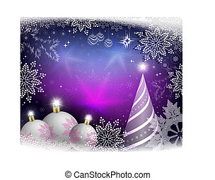 Christmas card purple with white balls and abstract Christmas tree.