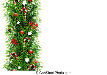 Christmas card, realistic green branches of a Christmas tree, decorated with balls, stars, candy and snowflakes on a white background. Merry Christmas and a happy new year. Flat lay, copy space