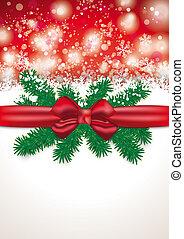 Christmas Card Red Ribbon Snowfall