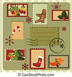 Christmas card. Retro style - Christmas card with stamps and...