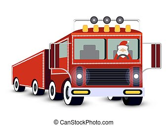 Christmas card. Santa Claus driving truck.