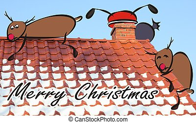 christmas card - santa claus in the roof and frightened reindeer