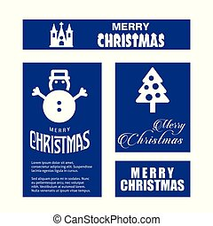 Christmas card set with blue background
