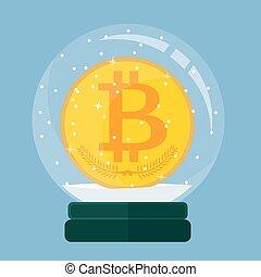 Christmas card. Snow globe with a Bitcoin inside.