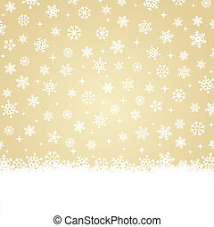 Christmas card - Snow on gold backg - Xmas greetings card -...