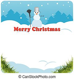 Christmas card. snowman in the background. choice for congratulations