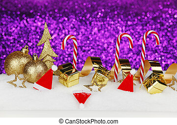 Christmas card with colorful decoration over purple...