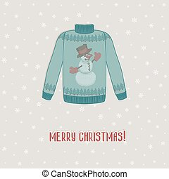 Christmas card. sweater with snowman