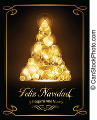 "Warmly sparkling Christmas tree made of our of focus lights on dark brown background with the text ""Feliz Navidad y Pr?spero A?o Nuevo""."