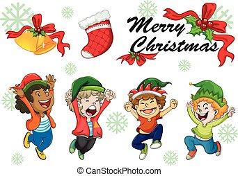 Christmas card template kids dancing