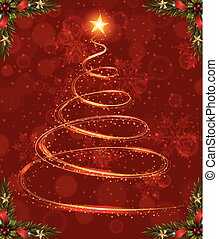 Christmas card template with christmas tree light