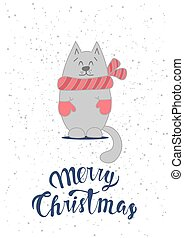Christmas card template with cute cat.