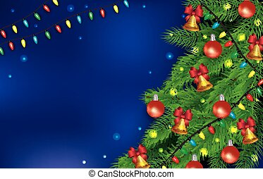 Christmas card template with realistic decorated Christmas tree branches