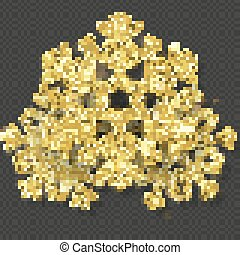 Christmas card template with shining gold snowflakes overlay object. EPS 10