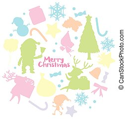 Christmas card template with silhouette background