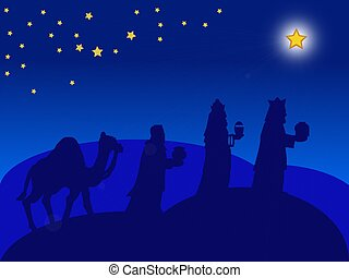 christmas card - the Magi - a blue illustration of the Magi...