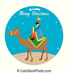 The Wise men Baltasar on camel - Christmas card. The Wise...