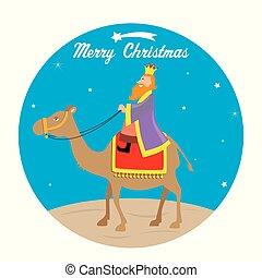 The Wise men Caspar on camel - Christmas card. The Wise men...