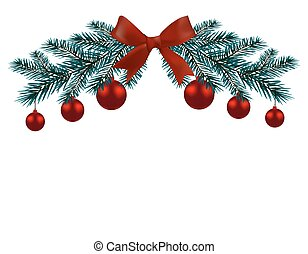 christmas card two branches of a blue tree with red balls and ribbons on a