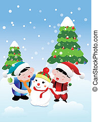 Christmas card, two children are heaping Snowman
